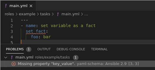 VSCode set_fact module error