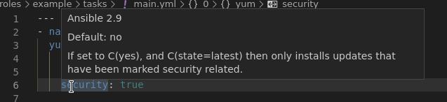 VSCode yum option help