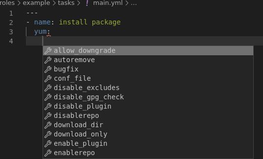 VSCode yum module options